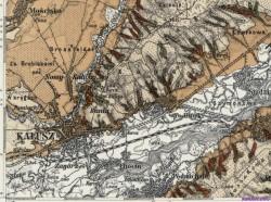 Карта Калуша і околиць часів Австро-Угорщини:  Старий Калуш